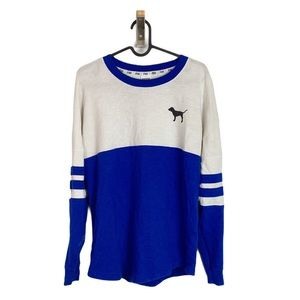 PINK Blue and White Jersey Long Sleeve Pullover